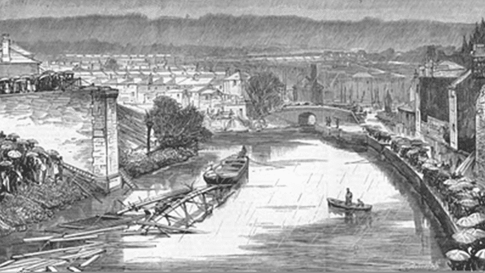The fall of Widcombe Bridge at Bath after the accident, from The Graphic