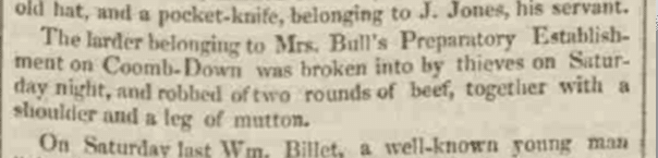 Theft from Mrs. Bull, Bath Chronicle, Thursday 15 February 1827
