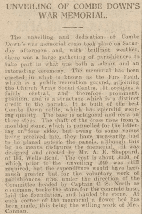 Unveiling of Combe Down cross, Bath Chronicle, Saturday 28 May 1921