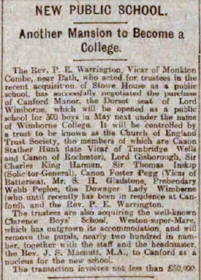Warrington and Canford - Sheffield Daily Telegraph - Monday 18 December 1922