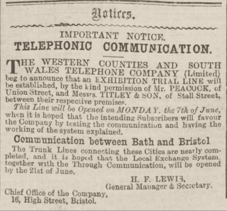 WCSWTC advert, Bath Chronicle, Thursday 10 June 1886