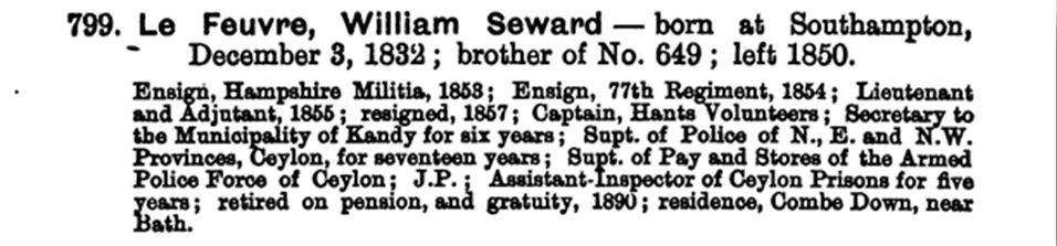 William Seward LeFeuvre from Elizabeth College Register, 1824-1873