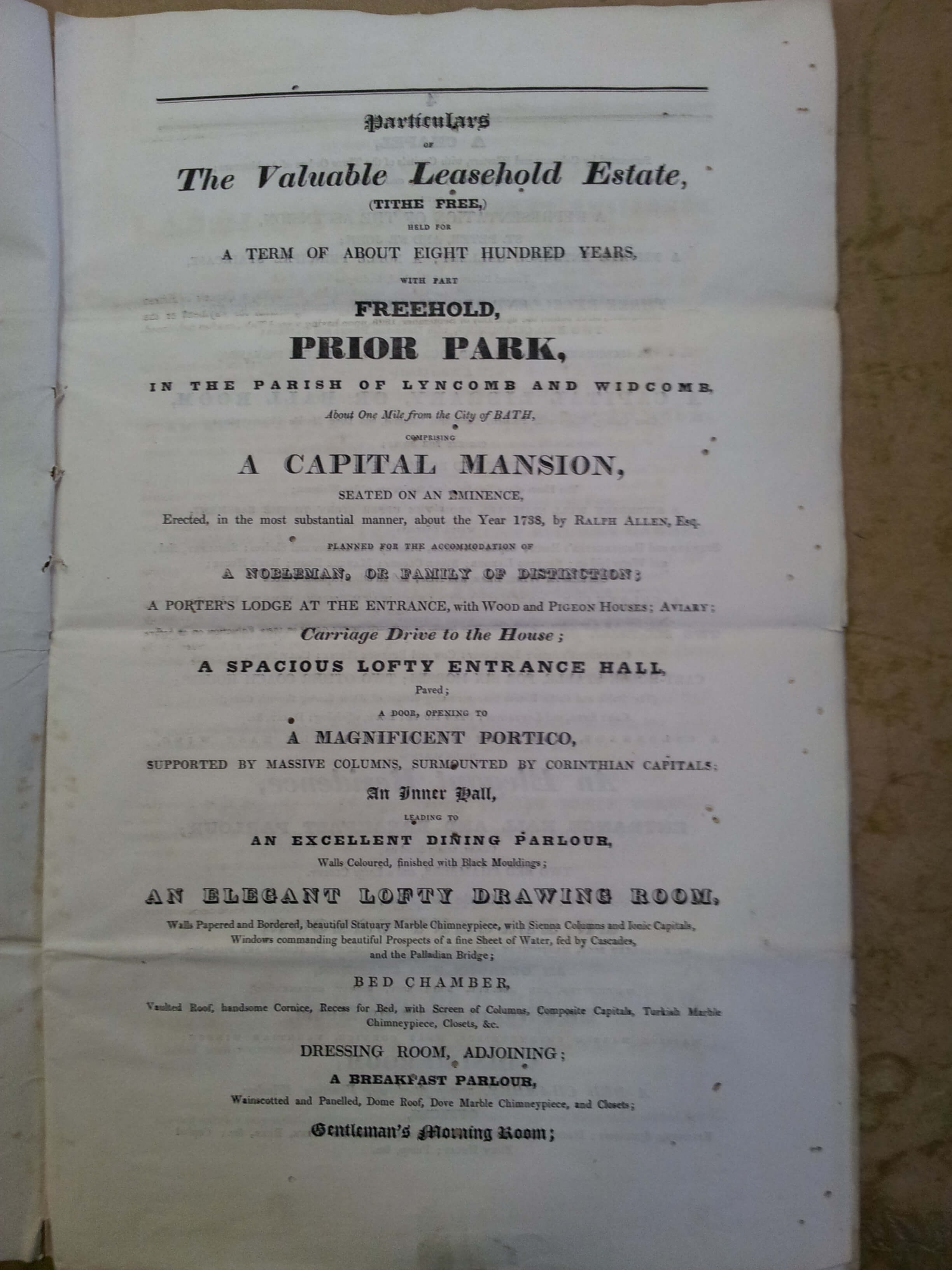 Front of sale particulars for Prior Park in 1808
