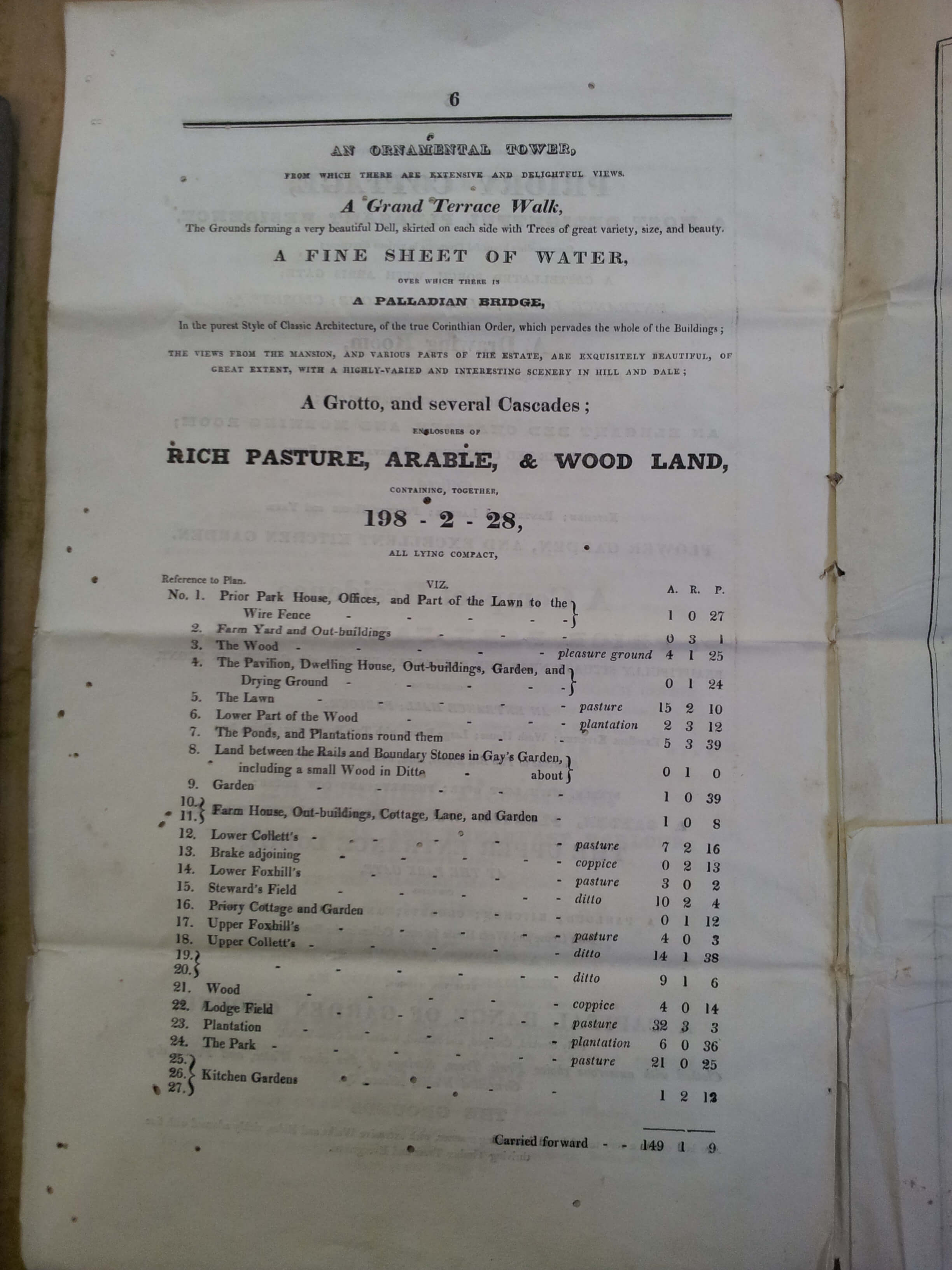 More details of sale particulars for Prior Park in 1808