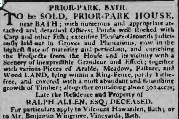 Prior Park still to be sold Bath Chronicle and Weekly Gazette - Thursday 05 May 1803