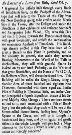 Letter from Bath - from the Derby Mercury, Friday 15 February 1754