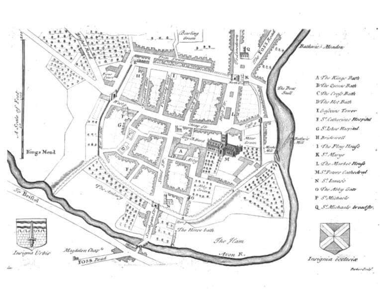 Map of Bath from page 339 of Itinerarium Curiosum