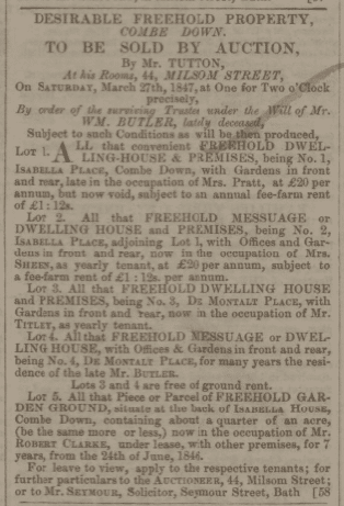 1 & 2 Isabella Place auction - Bath Chronicle and Weekly Gazette - Thursday 25 March 1847