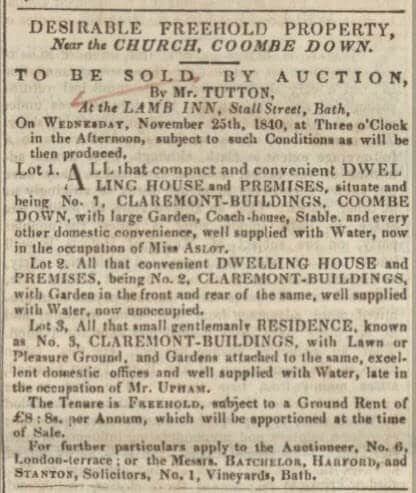 1 - 3 Claremont Buildings for sale - Bath Chronicle and Weekly Gazette - Thursday 12 November 1840