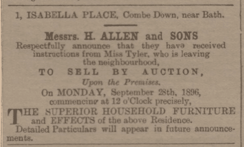 1 Isabella Place, Combe Down, Bath for sale by auction as Miss Tyler is leaving the neighbourhood in Bath Chronicle and Weekly Gazette - Thursday 10 September 1896
