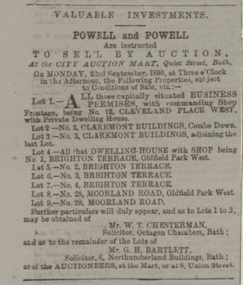 2 & 3 Claremont Buildings auction notice - Bath Chronicle and Weekly Gazette - Thursday 4 September 1890
