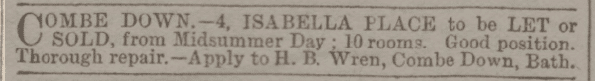 4 Isabella Place, Combe Down, Bath to be let or sold in Bath Chronicle and Weekly Gazette - Thursday 12 May 1881