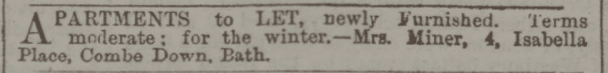 Apartments to be let at 4 Isabella Place, Combe Down, Bath by Mrs. Miner in Bath Chronicle and Weekly Gazette - Thursday 3 November 1881