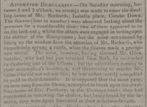 Attempted burglary at Mr. Richards - Bath Chronicle and Weekly Gazette - Thursday 18 June 1835