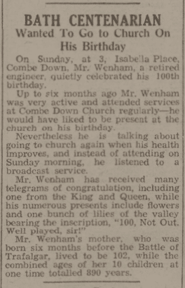 Bath centenarian - Bath Chronicle and Weekly Gazette - Saturday 29 March 1941
