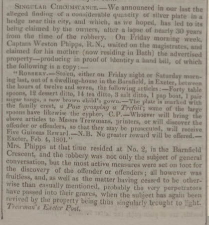 Capt Weston Phipps silver - Bath Chronicle and Weekly Gazette - Thursday 23 December 1830