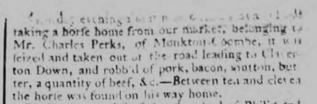 Charles Perks stolen horse - Bath Chronicle and Weekly Gazette - Thursday 4 March 1773