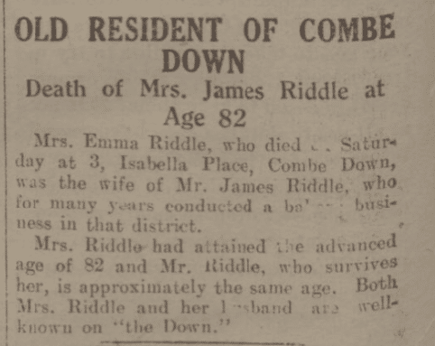 Death of Emma Riddle - Bath Chronicle and Weekly Gazette - Saturday 23 March 1935