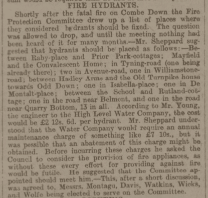 Fire Hydrants to be installed including Isabella Place in Bath Chronicle and Weekly Gazette - Wednesday 2 February 1898