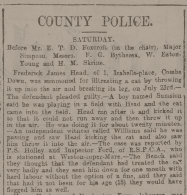 Frederick James Head of 1 Isabella Place, Combe Down, Bath summoned for ill treating a cat in Bath Chronicle and Weekly Gazette - Thursday 17 August 1899