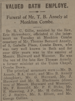 Funeral Thomas Bernard  Annely - Bath Chronicle and Weekly Gazette - Saturday 19 April 1930