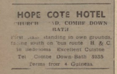 Hope Cote Hotel - Bath Chronicle and Weekly Gazette - Saturday 18 January 1947