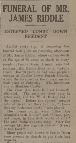 James Riddle funeral - Bath Chronicle and Weekly Gazette - Saturday 18 January 1936