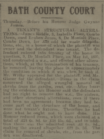 James Riddle sues tenant - Bath Chronicle and Weekly Gazette - Saturday 5 August 1916