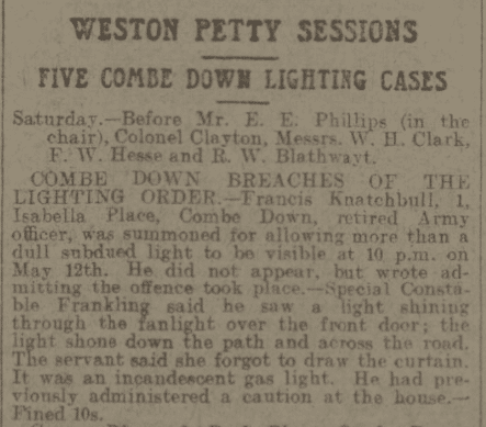 Knatchbull lighting offense - Bath Chronicle and Weekly Gazette - Saturday 27 May 1916