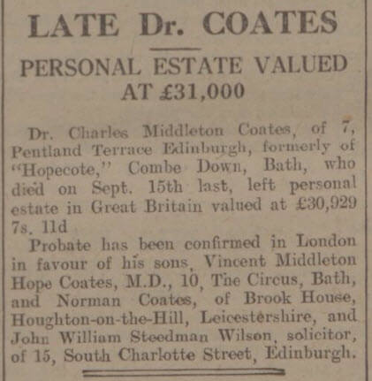 Late Dr Coates - Bath Chronicle and Weekly Gazette - Saturday 27 January 1934