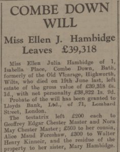Miss Hambidge will - Bath Chronicle and Weekly Gazette - Saturday 5 November 1932