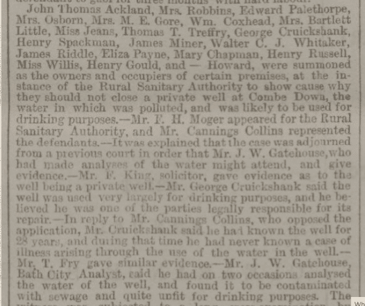 Polluted well - Bath Chronicle and Weekly Gazette - Thursday 22 February 1883