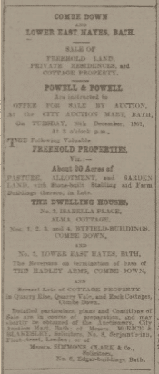 Sale of 3 Isabella Place - Bath Chronicle and Weekly Gazette - Thursday 21 November 1901