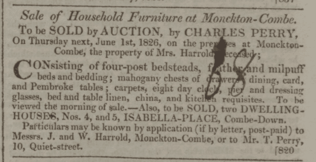 Sale of 4 & 5 Isabella Place property of Mrs. Harrold, deceased in Bath Chronicle and Weekly Gazette - Thursday 1 June 1826