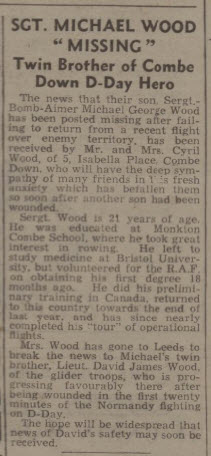 Sergeant Michael Wood missing - Bath Chronicle and Weekly Gazette - Saturday 22 July 1944