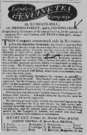 The London Genuine Tea Company - Bath Chronicle and Weekly Gazette - Thursday 1 April 1819