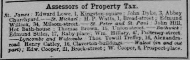 Thomas Towill Treffry, Assessor of Property Tax - Bath Chronicle and Weekly Gazette - Thursday 23 December 1875