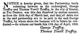 Treffry partnership dissolved 15 April 1859