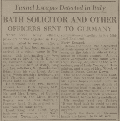 Tunnel escapers - Bath Chronicle and Weekly Gazette - Saturday 20 November 1943