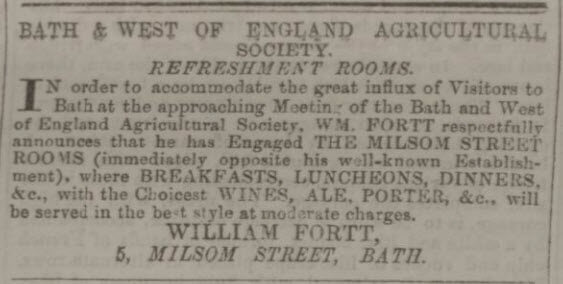 William Fortt refreshment rooms - Bath Chronicle and Weekly Gazette - Thursday 25 May 1854