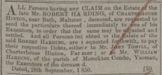 William Harding Bath Chronicle and Weekly Gazette - Thursday 3 October 1850