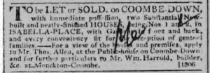 William Harrold letting or selling 1 & 2 Isabella Place - Bath Chronicle and Weekly Gazette - Thursday 25 June 1812