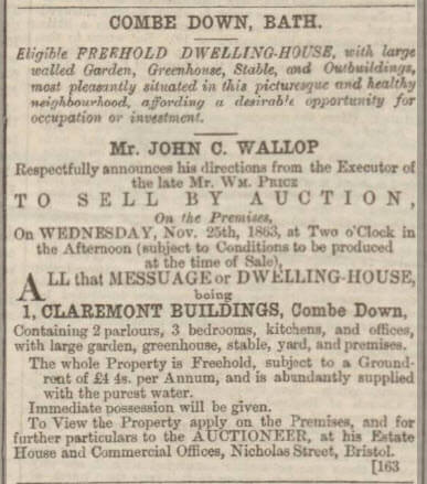 William Price sale of 1 Claremont Buildings, Bath Chronicle and Weekly Gazette - Thursday 19 November 1863