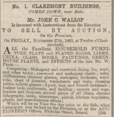 William Price sale of contents of 1 Claremont Buildings for sale - Bath Chronicle and Weekly Gazette - Thursday 19 November 1863