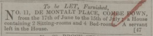 11 De Montalt Place to be let - Bath Chronicle and Weekly Gazette - Thursday 8 June 1848