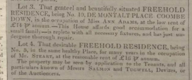 5 & 10 De Montalt Place for sale - Bath Chronicle and Weekly Gazette - Thursday 14 February 1833