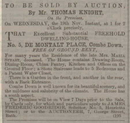 5 De Montalt Place for sale - Bath Chronicle and Weekly Gazette - Thursday 6 November 1862