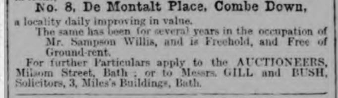 8 De Montalt Place for sale - Bath Chronicle and Weekly Gazette - Thursday 17 October 1872