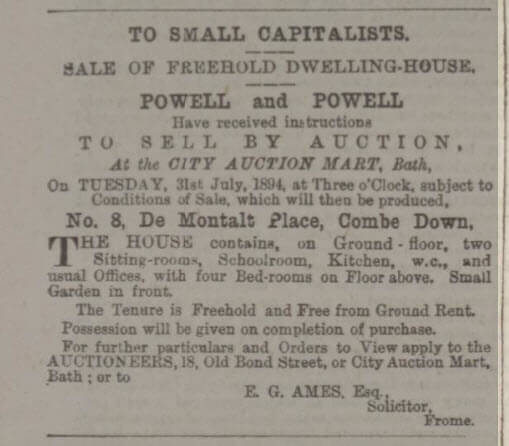 8 De Montalt Place for sale - Bath Chronicle and Weekly Gazette - Thursday 26 July 1894