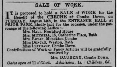 Creche at Combe Down - Bath Chronicle and Weekly Gazette - Thursday 2 August 1877